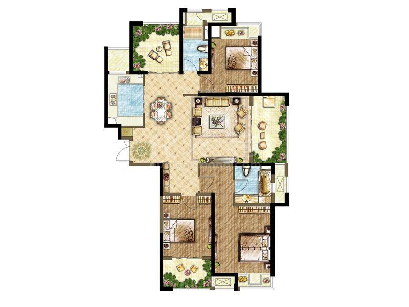3.3期 1-4# A5 4房2房2厅 138㎡