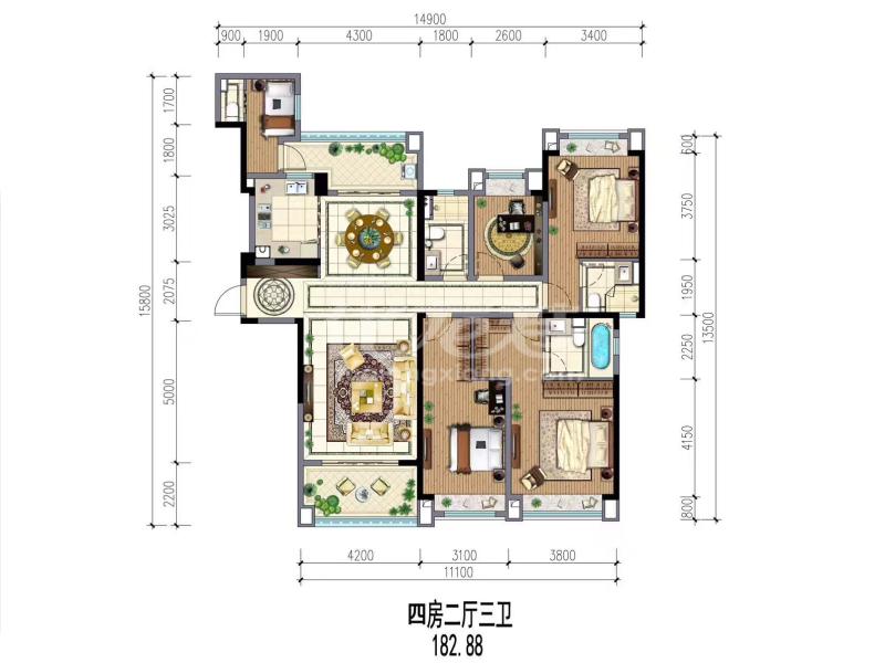 12# 4房2厅3卫 182.88㎡