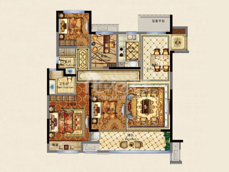 D 3+1房2厅2卫 129㎡
