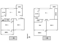 局小、北郊,名额空置,满五唯一,4室2厅2卫顶复式,实用面积160 ,南北通透