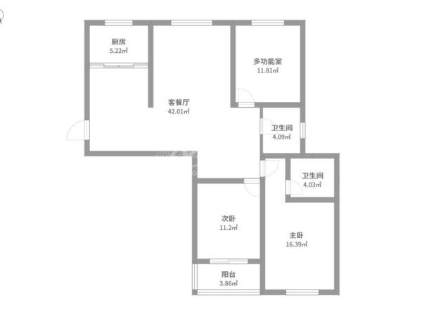 龙虎塘的玲珑花园,三室两厅,纯毛坯,户型方正,通透性很好,有钥匙随时看房
